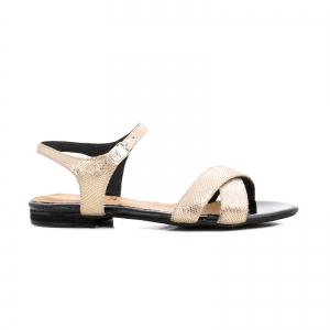 Sandale din piele aurie laserata0