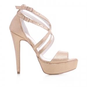 Sandale din piele aurie laserata, cu barete incrucisate [0]