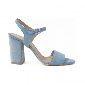 Sandale din piele intoarsa albastra, cu toc patrat imbracat in piele.0