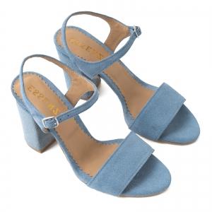 Sandale din piele intoarsa albastra, cu toc patrat imbracat in piele.2