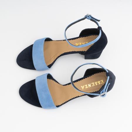 Sandale din piele intoarsa bleomaren si albatru seren, cu toc gros de 6cm3
