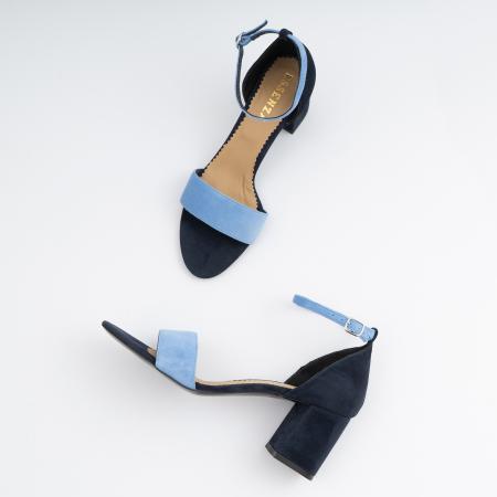 Sandale din piele intoarsa bleomaren si albatru seren, cu toc gros de 6cm4