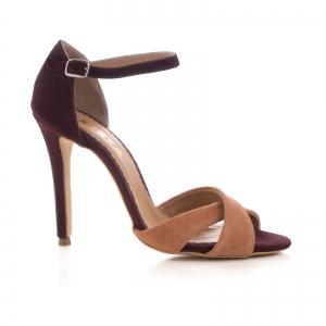Sandale din piele intoarsa camoscio mov si roze piersica0