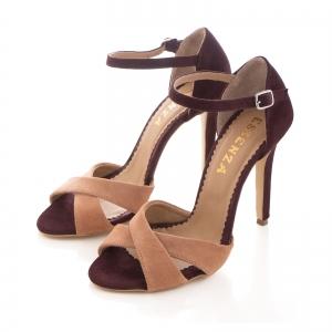 Sandale din piele intoarsa camoscio mov si roze piersica2