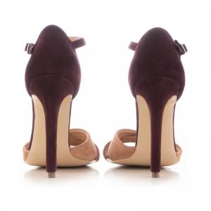 Sandale din piele intoarsa camoscio mov si roze piersica3