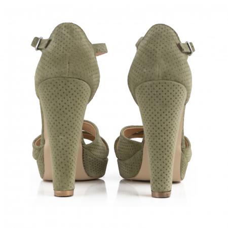 Sandale din piele intoarsa kaki cu perforatii2
