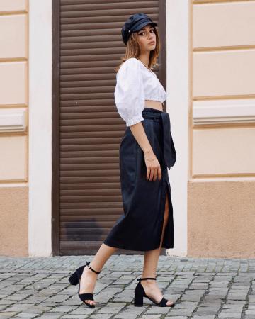 Sandale din piele intoarsa neagra, cu toc gros. [5]