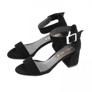 Sandale din piele intoarsa neagra, cu toc gros1