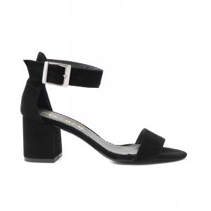 Sandale din piele intoarsa neagra, cu toc gros0