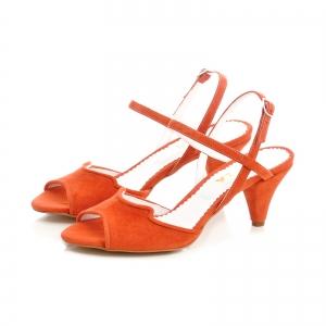 Sandale din piele intoarsa rosie, cu toc conic1