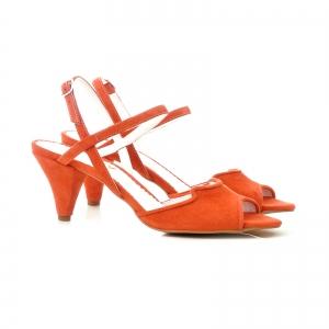 Sandale din piele intoarsa rosie, cu toc conic2
