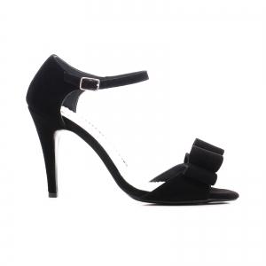 Sandale din piele intoarsa neagra, cu funde0