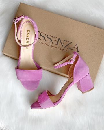 Sandale din piele intoarsa roz-lila, cu toc gros.1