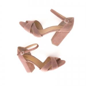 Sandale din piele intoarsa roz somon3