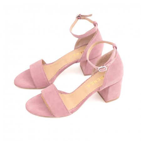 Sandale din piele intoarsa roz somon, cu toc gros.1