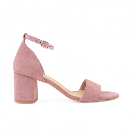 Sandale din piele intoarsa roz somon, cu toc gros.0