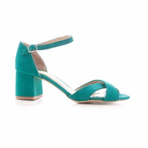 Sandale din piele intoarsa turquoise, cu toc gros0