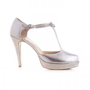Sandale din piele laminata argintie0