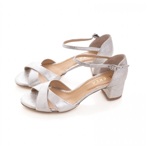 Sandale din piele laminata argintie, cu toc gros [2]