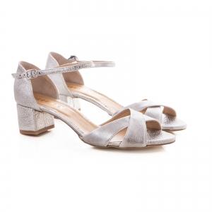 Sandale din piele laminata argintie, cu toc gros [1]