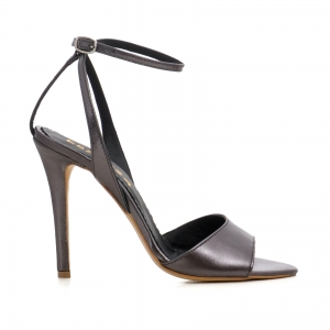 Sandale din piele metalizata gri0