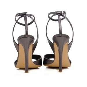 Sandale din piele metalizata gri2