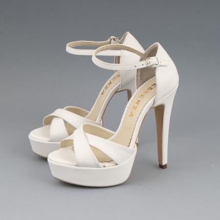Sandale din piele naturala, alb unt1