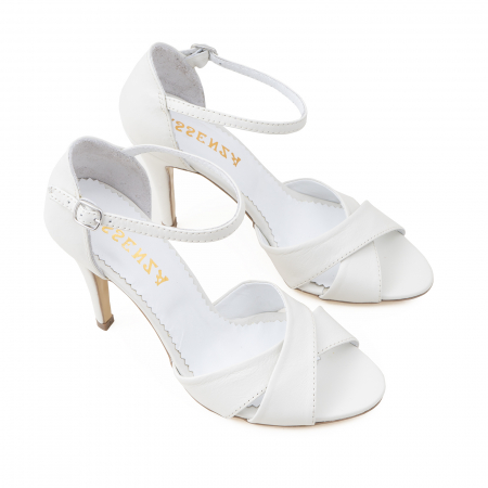 Sandale din piele naturala alba2