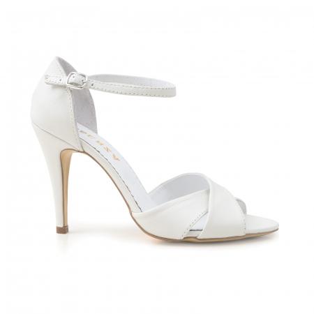 Sandale din piele naturala alba0