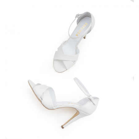 Sandale din piele naturala alba3