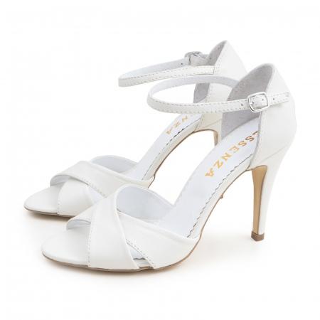 Sandale din piele naturala alba1