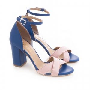 Sandale din piele naturala albastra si roz [1]