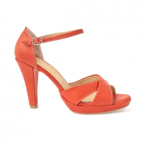 Sandale din piele naturala coral0