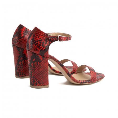 Sandale din piele naturala cu aspect tip piton rosu/negru4