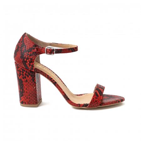 Sandale din piele naturala cu aspect tip piton rosu/negru0