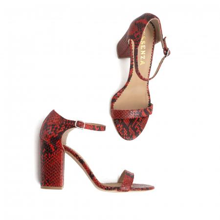 Sandale din piele naturala cu aspect tip piton rosu/negru3