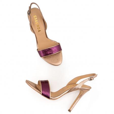 Sandale din piele naturala metalizata rose si visinie2