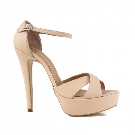Sandale din piele naturala nude-rose, cu toc de 14cm si platforma de 3cm0