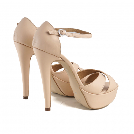 Sandale din piele naturala nude-rose, cu toc de 14cm si platforma de 3cm2