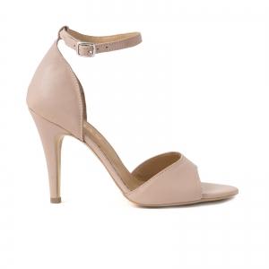 Sandale din piele naturala nude roze, cu toc stiletto0