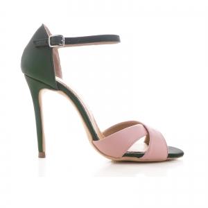 Sandale din piele naturala verde si roz [0]