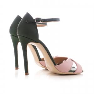 Sandale din piele naturala verde si roz [1]