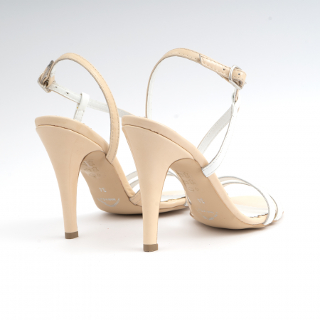Sandale elegante cu barete subtiri din piele naturala nude si alba.2