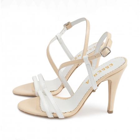 Sandale elegante cu barete subtiri din piele naturala nude si alba.1