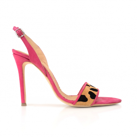 Sandale elegante din piele intoarsa neagra si animal print. [0]