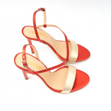 Sandale elegante din piele laminata rosie si aurie, cu toc stiletto2