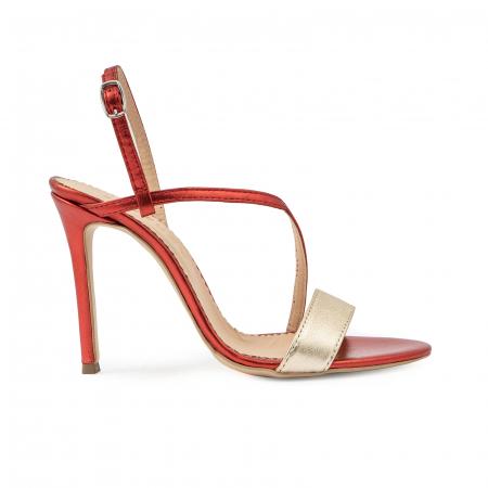 Sandale elegante din piele laminata rosie si aurie, cu toc stiletto0