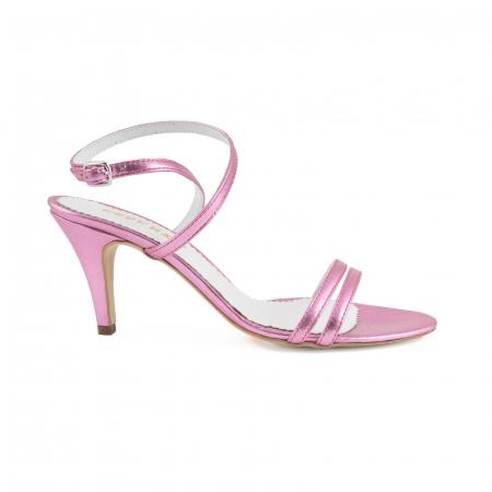 Sandale elegante din piele laminata roz ciclam0