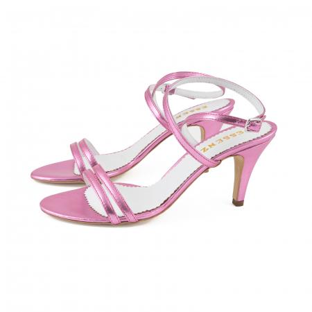 Sandale elegante din piele laminata roz ciclam1