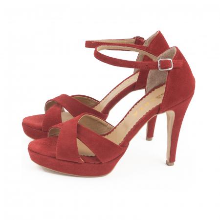 Sandale  cu platforma, din piele intoarsa rosie [1]